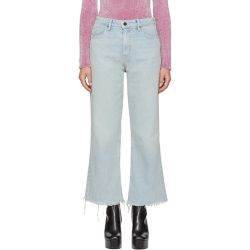 ALEXANDER WANG Blue Cropped Loose Kick Jeans
