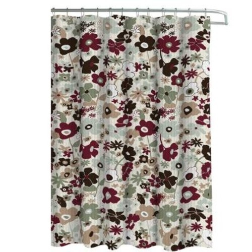 Creative Home Ideas Oxford Weave Textured 70 in. W x 72 in. L Shower Curtain with Metal Roller Hooks in Stencil Floral Sage/Choc