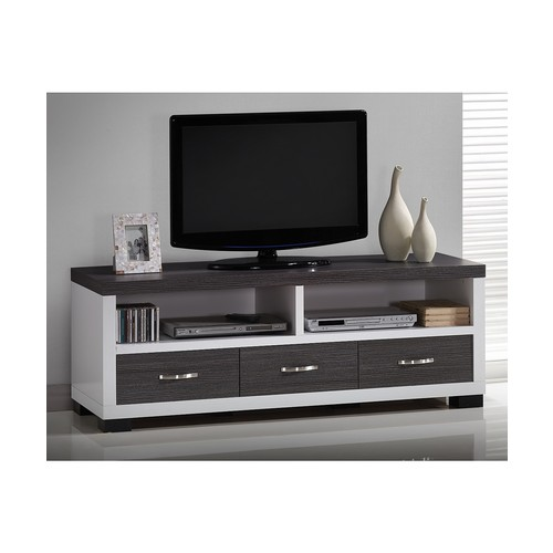 Oxley 59-Inch Modern and Contemporary Two-tone White and Dark Brown Entertainment TV Cabinet with Three Drawers