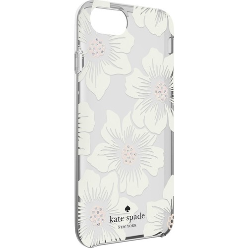 kate spade new york - Protective Hardshell Case for Apple iPhone 8 - Cream with Stones/Hollyhock Floral Clear