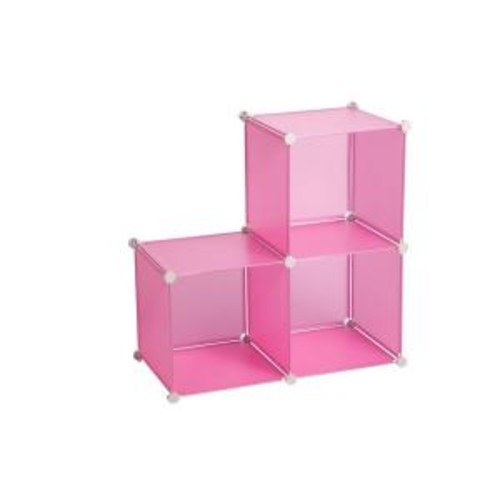 Honey-Can-Do 143 Qt. Storage Cubes Bin Pink (3-Pack)