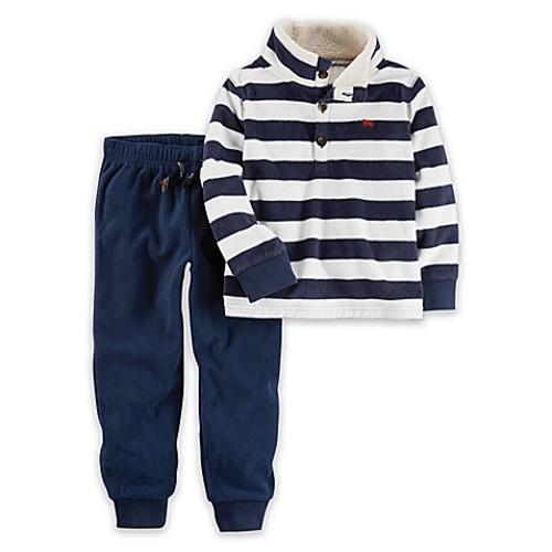 carter's Newborn 2-Piece Striped Fleece Top and Jogger Set in Blue/White