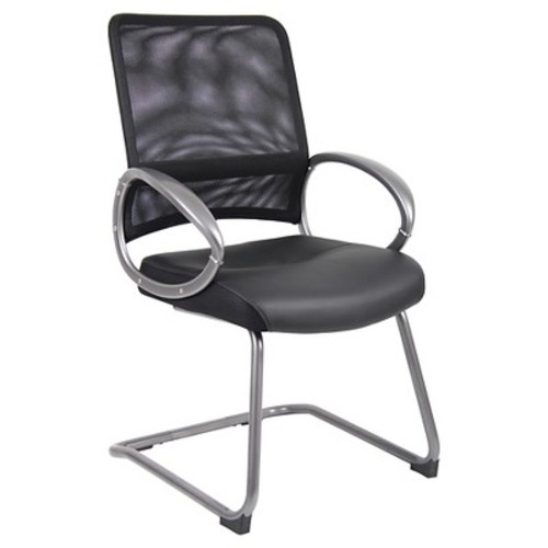 Mesh Back with Pewter Finish Guest Chair Black - Boss Office Products