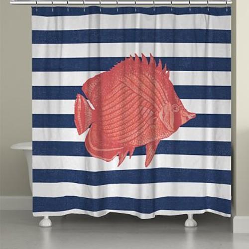 LauralHome Fish Stripe Shower Curtain
