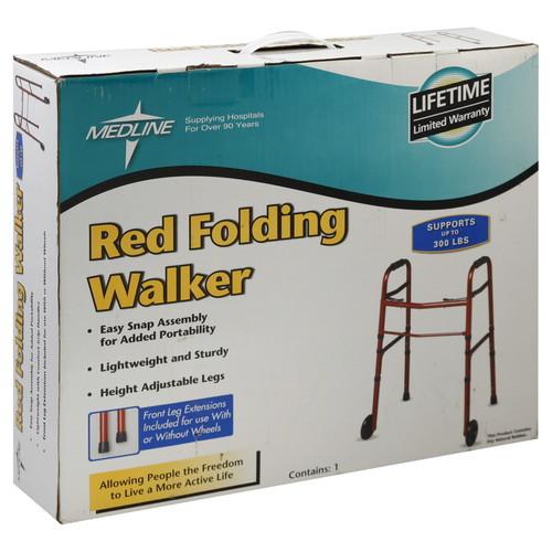 Medline Walker, Folding, Red, 1 walker