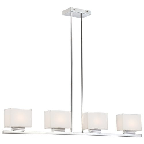 Kovacs P128-077 4 Light 1 Tier Linear Chandelier in Chrome from the Cubism Collection