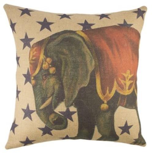 TheWatsonShop Circus Elephant Burlap Throw Pillow