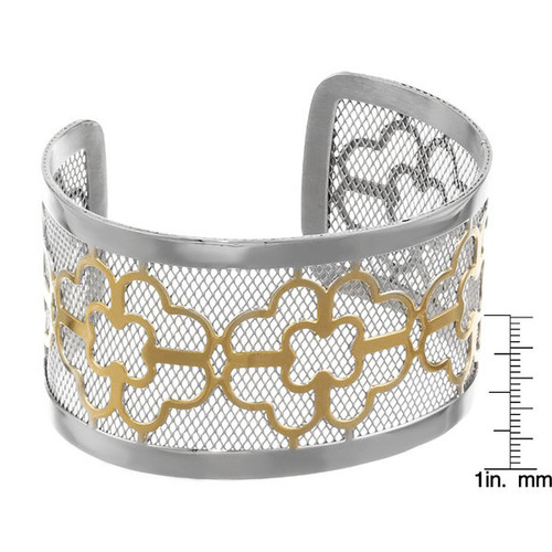 Stainless Steel 40-mm Floral Cuff Bracelet [option : Round Floral Cuff Bangle in Stainless Steel]