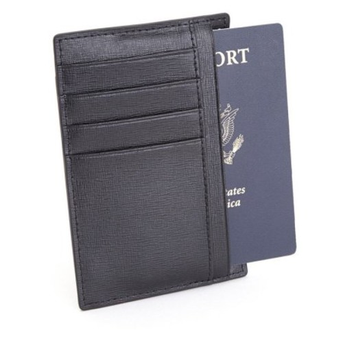 Royce Leather Rfid Blocking Slim Travel Passport Wallet in Saffiano Leather [Black]