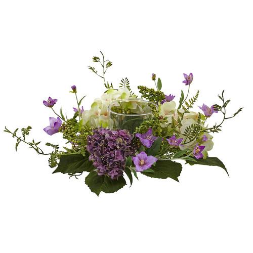 Nearly Natural Hydrangea Berry Candelabrum Silk Arrangement