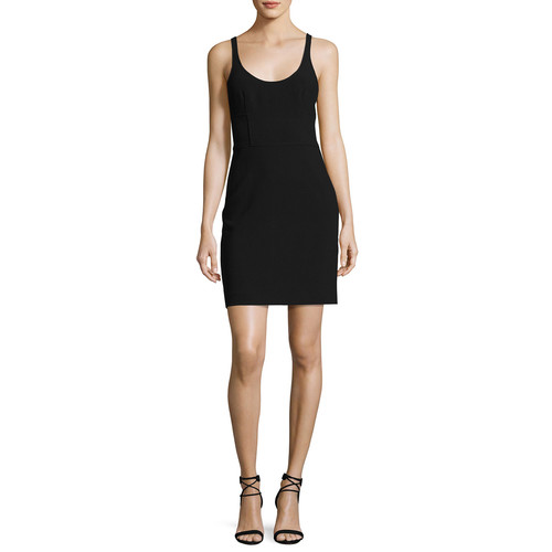 ELIZABETH AND JAMES Huette Fitted Sleeveless Mini Sheath Dress, Black