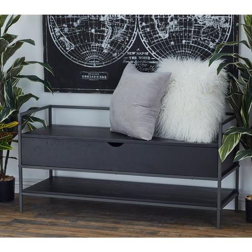 Dark Brown Bench with Bottom Shelf
