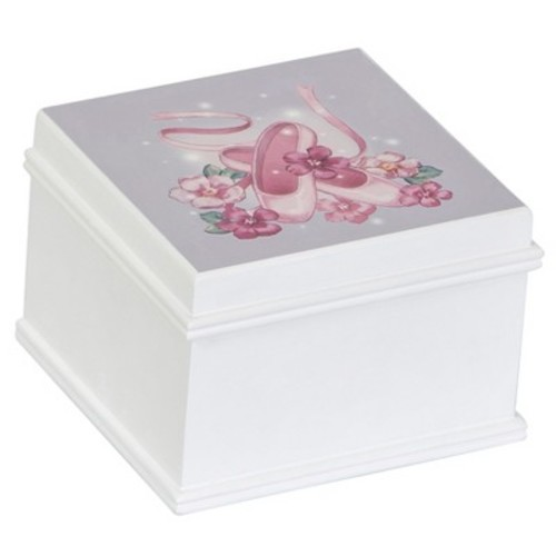 Mele & Co. Kirsten Girls' Wooden Musical Ballerina Jewelry Box - White