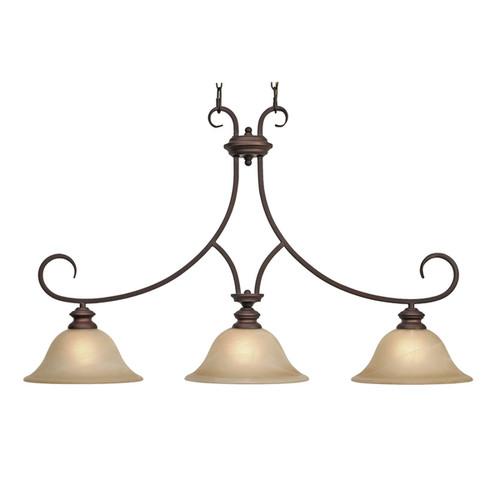 Golden Lighting Rubbed Bronze Marbled Glass 3-light Landcaster Linear Pendant