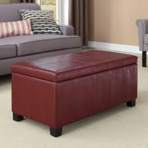 Simpli Home - Dover Rectangular Storage Ottoman - Radicchio Red