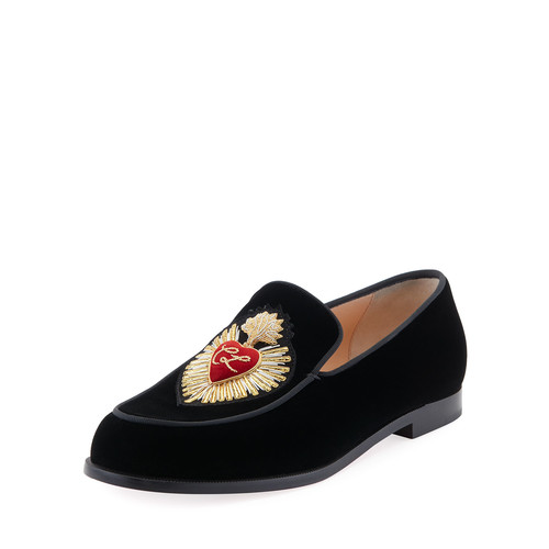 CHRISTIAN LOUBOUTIN Perou Corazon Velvet Red Sole Loafer, Black