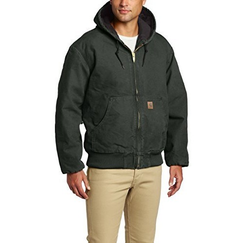 Carhartt Men's Sandstone Active Jacket - Quilted Flannel Lined, Dark Brown, Large Tall, Model# J130
