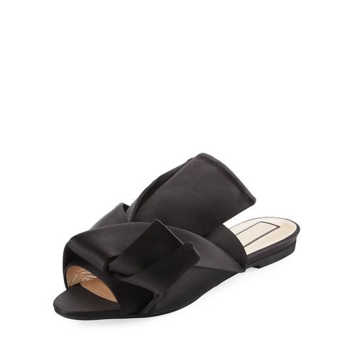 NO. 21 Pleated Flat Satin Slide Sandal