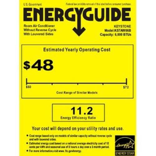 Keystone KSTAW06B Energy Star 6,000 BTU 115V Window-Mounted Air Conditioner w/ LCD Remot