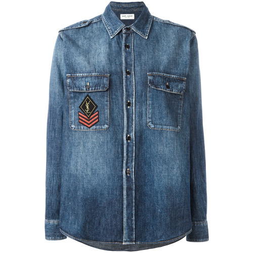 SAINT LAURENT Ysl Military Patch Denim Shirt