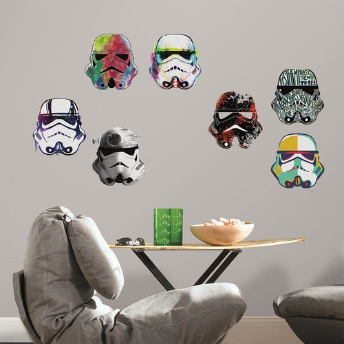 RoomMates 5 in. x 11.5 in. 8-Piece Star Wars Artistic Storm Trooper Heads Peel and Stick Wall Decals