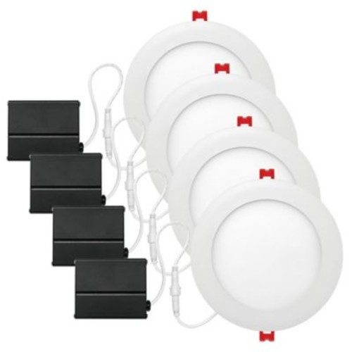 Globe Electric 6-Inch Ceiling-Mount Recessed Integrated Slim Line LED Light in White (Set of 4)