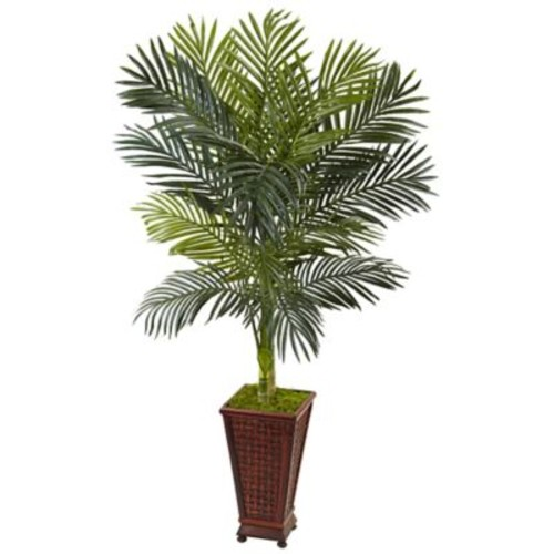 Nearly Natural 5-Foot Golden Cane Palm Tree in Wicker-Textured Wood Planter