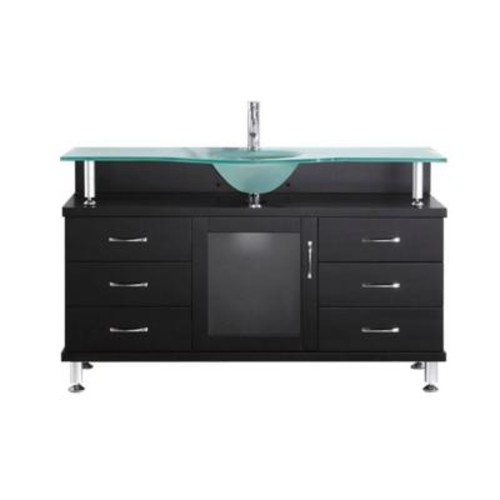 Virtu USA Vincente 55 in. Single Basin Vanity in Espresso with Glass Vanity Top in Frosted Glass MS-55-FG-ES