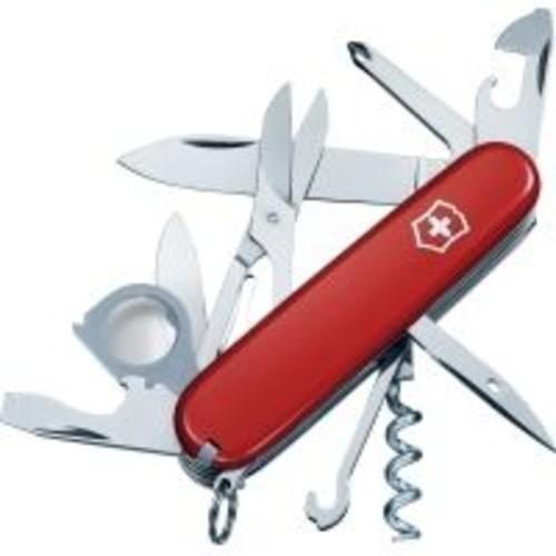 Victorinox Explorer Swiss Army Knife [Blade Length : 9 cm; Handle Finish : Red; Additional Features : Bottle Opener, Key Ring, Can Opener, Flat Head Screwdriver, Phillips Screwdriver, Wire Stripper, Multi-purpose Hook, Scissors, Tweezers, Cork Screw, Toothpick, Reamer]