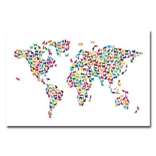 World Map - Cats by Michael Tompsett, 16x24-Inch Canvas Wall Art [16 by 24-Inch]