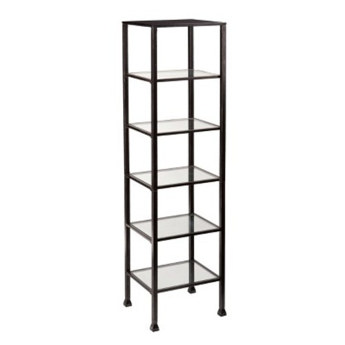 Metal And Glass 5 Shelf Tower - Black/Silver - Aiden Lane