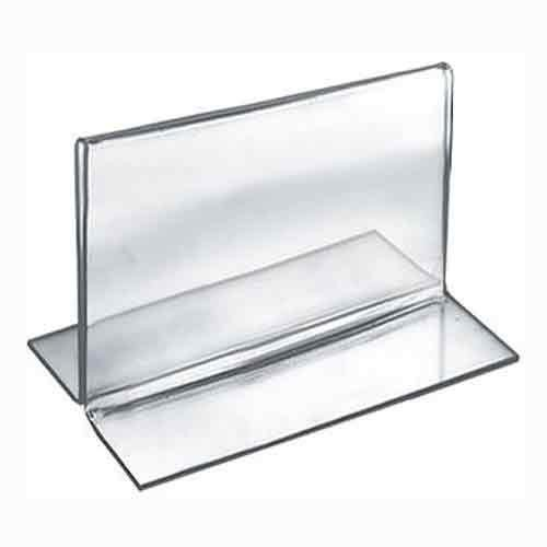 Azar Displays 152732 5-Inch Width by 3.5-Inch Height Double-Foot Acrylic Sign Holder, 10-Pack