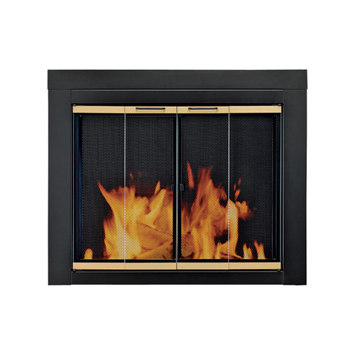 Pleasant Hearth Arrington Fireplace Glass Door  For Masonry Fireplaces, Medium, Black/Gold Finish, Model# AP-1021
