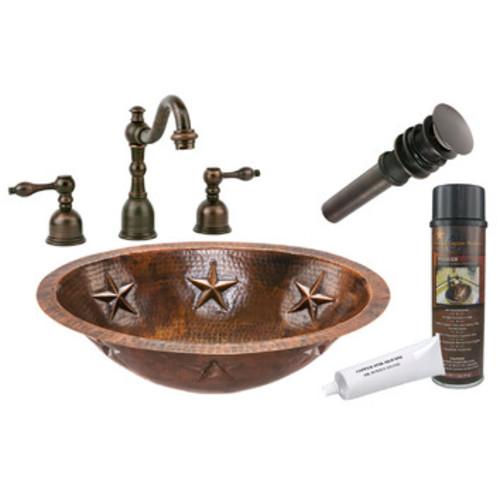 Oval Star Under-Counter Hammered Copper Bathroom Sink