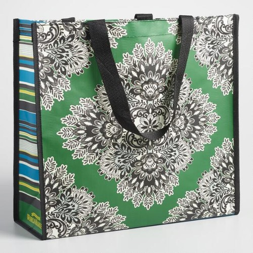 Wide Green Medallion Tote Bag