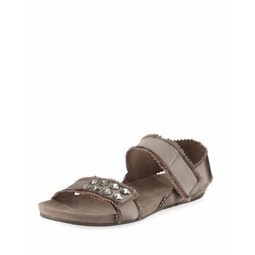 Jenay Crystal Satin Sandal, Truffle