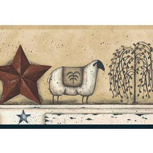 York Wallcoverings Best of Country Sheep Star Wallpaper Border