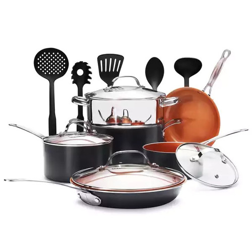 Gotham Steel 15-Piece Titanium and Ceramic Nonstick Copper Frying Pan and Cookware Set - Includes 5 Utensils