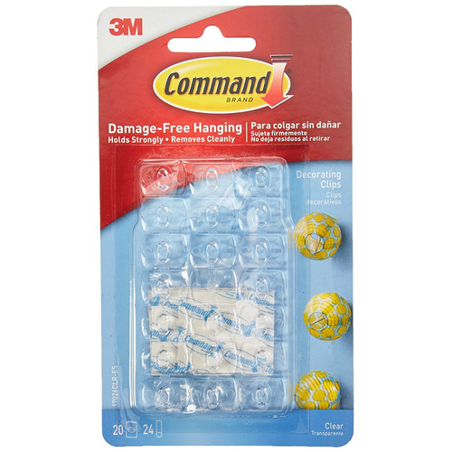 Command 17026CLR Decorating Clips w/Adhesive Strips, Clear, 20 Clips & 24 Strips
