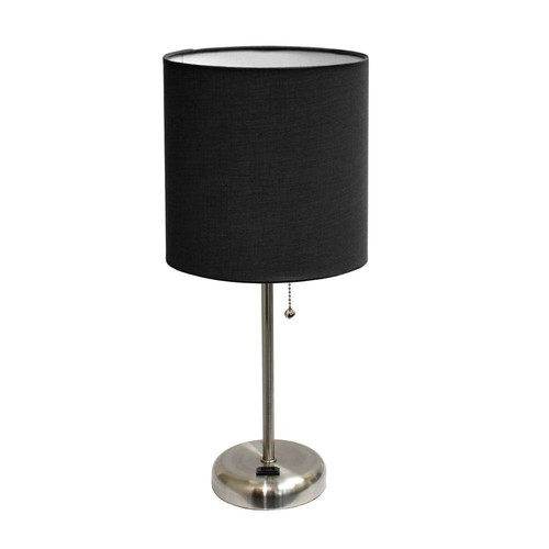 Limelights 19.5 in. Brushed Steel Stick Table Lamp with Charging Outlet Base