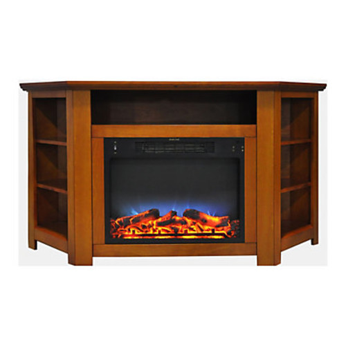 Cambridge Stratford Electric Corner Fireplace With LED Multicolor Display, Teak