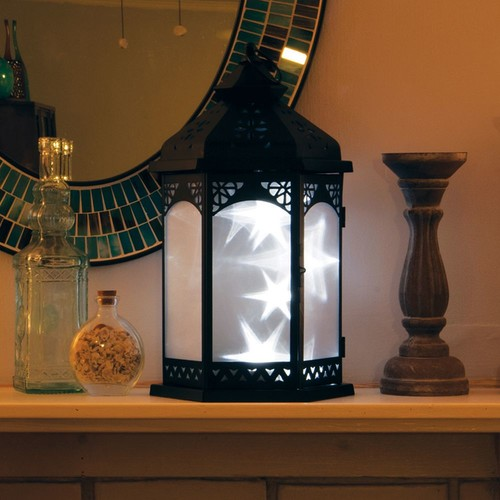 Smart Design Baltimore Star 16 in. Black Integrated LED Lantern with Timer Candle