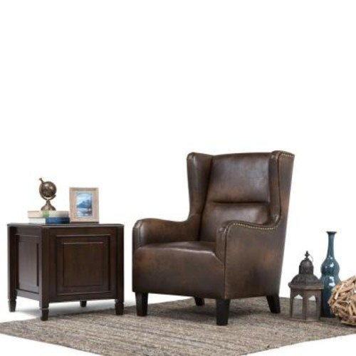 Simpli Home Taylor Distressed Brown Bonded Leather Wing Back Arm Chair