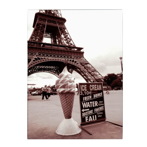 Trademark Fine Art Kathy Yates 'Eiffel Tower with Ice Cream Cone 2' Canvas Art 22x32 Inches