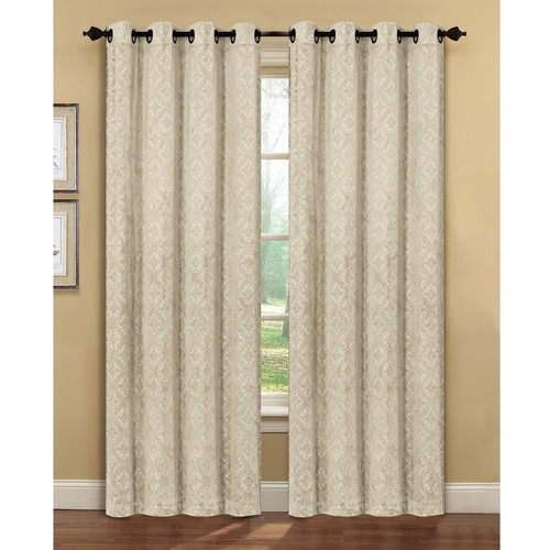 Creative Home Ideas Semi-Opaque Matine Trellis Extra Wide Taupe Embossed Velvet Grommet Curtain Panel - 54 in. W x 84 in. L