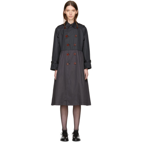 TRICOT COMME DES GARÇONS Black Taffeta Double-Breasted Trench Coat