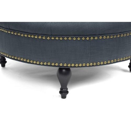 Baxton Studio Ottomans & Storage Ottomans Palfrey Gray Linen Modern Tufted Ottoman
