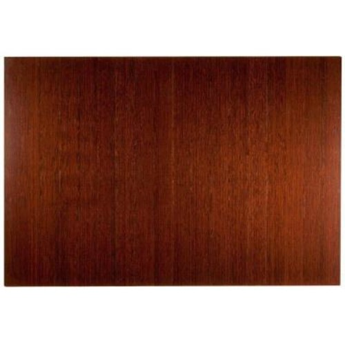 Anji Mountain Deluxe Dark Brown Mahogany 48 in. x 72 in. Bamboo Roll-Up Office Chair Mat without Lip