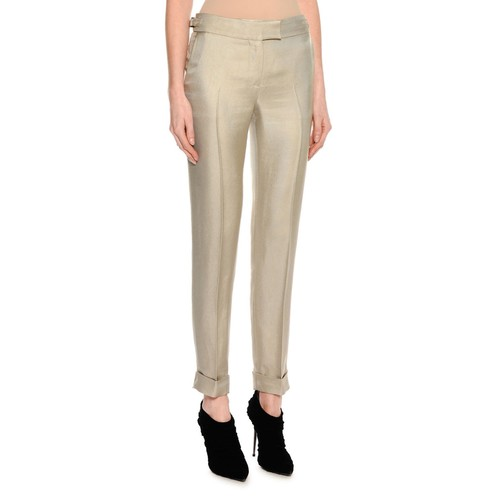 TOM FORD Shiny Viscose Cropped Pants, Gray