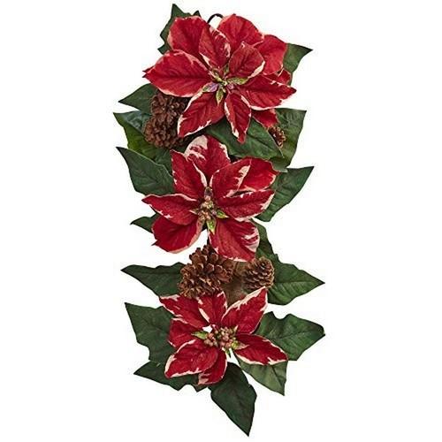 Nearly Natural Poinsettia Pine Cone & Burlap Teardrop Wreath 25 4872